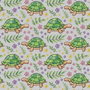 Tortoises and Flowers on Light Grey