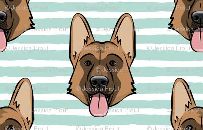 German Shepherd (dark mint stripes)