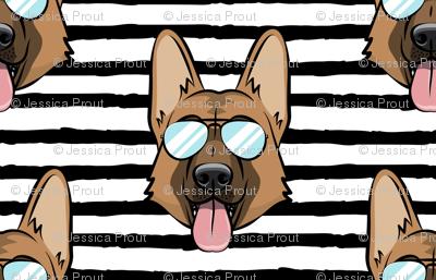 German Shepherd (black stripes with glasses)