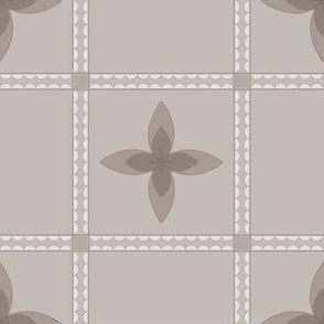 4 Petal Place: Warm Gray Floral Grid Pattern