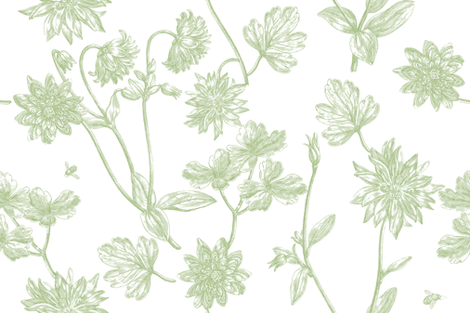 Jacomina Toile basil 1 fabric by lilyoake on Spoonflower - custom fabric