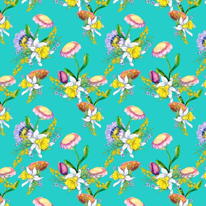DAFFODILS WATERCOLOR FLOWERS monograms COORDINATE TURQUOISE