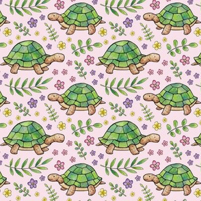Tortoises and Flowers on Pale Pink