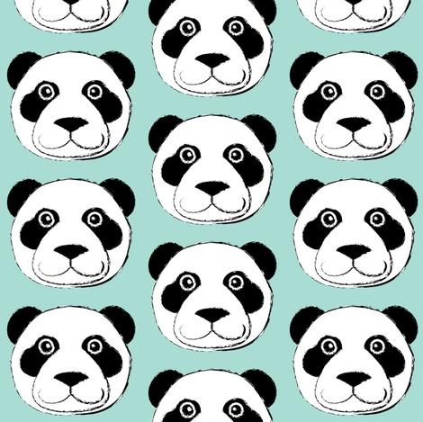 panda bear face on teal fabric by lilcubby on Spoonflower - custom fabric