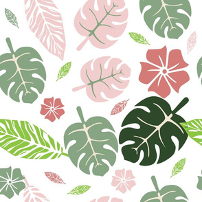 Tropical floral white pink and green