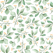 Woodland Foliage Green and White, Nursery Decor, Children decor, foliage, leaves