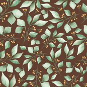 Woodland Foliage Brown and Green, Nursery Decor, Children decor, foliage, leaves