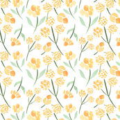 Watercolor Meadow Flowers, Yellow Flowers, Watercolor Floral Pattern