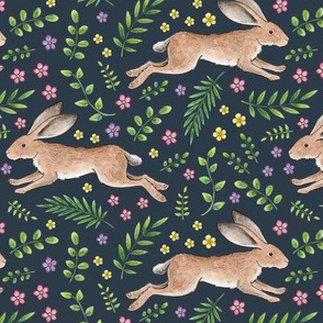 Leaping Spring Hares on navy