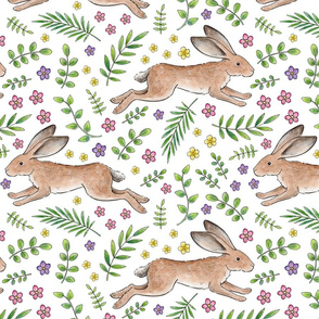 Leaping Spring Hares on white - large scale