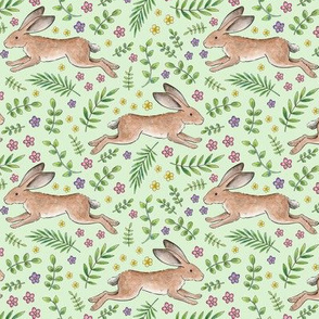 Leaping Spring Hares on pale green