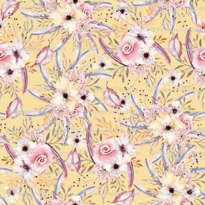 WATERCOLOR FLOWERS ON BUTTER YELLOW COORDINATE TO SPRING TEEPEE