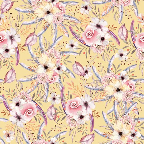 Rwatercolor_flowers_on_butter_yellow_coordinate_to_spring_teepee_by_floweryhat_shop_preview