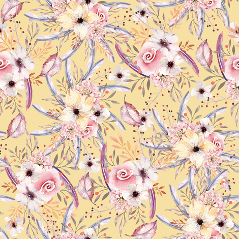 WATERCOLOR FLOWERS ON BUTTER YELLOW COORDINATE TO SPRING TEEPEE fabric by floweryhat on Spoonflower - custom fabric