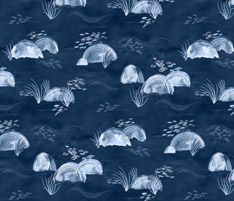 Fish and Stones on the Seabed - Monochrome Blue fabric by marketa_stengl on Spoonflower - custom fabric
