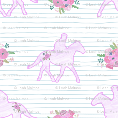 Flowery Horses on Stripe