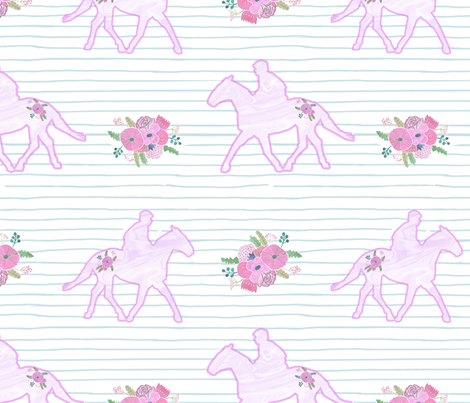 Flowery Horses on Stripe fabric by pixabo on Spoonflower - custom fabric