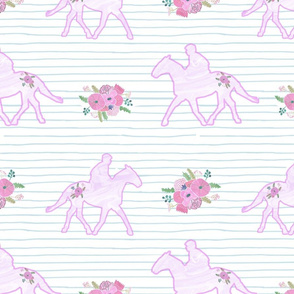 Flowery Horses on Stripe