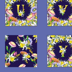 2 YARDS panel DAFFODILS MONOGRAMS DEEP BLUE ON PERIWINKLE