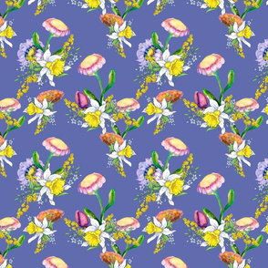 DAFFODILS WATERCOLOR FLOWERS COORDINATE PERIWINKLE BLUE