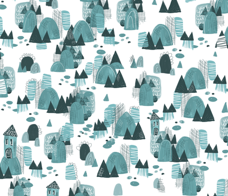 the village fabric by mizzlisa on Spoonflower - custom fabric