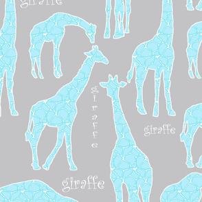 Blue Giraffes on Gray