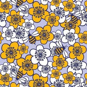Blossoms and Bees Mustard Grey