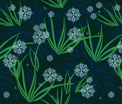 snowflakes and first spring bloom fabric by kukileaf on Spoonflower - custom fabric