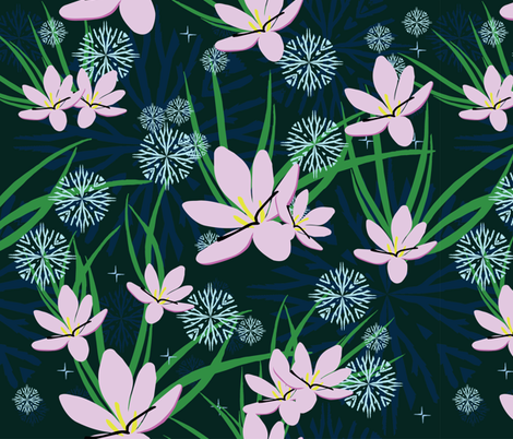 snowflakes and spring crocus dark fabric by kukileaf on Spoonflower - custom fabric