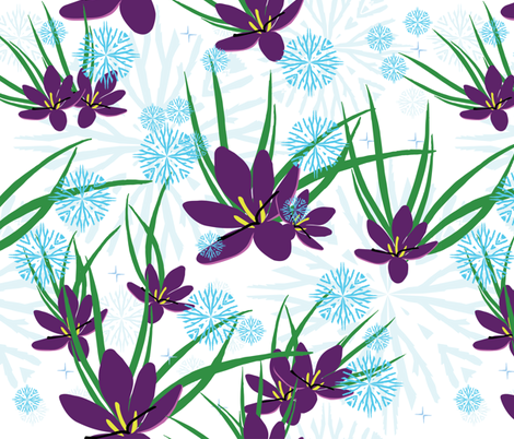 snowflakes and spring crocus light fabric by kukileaf on Spoonflower - custom fabric