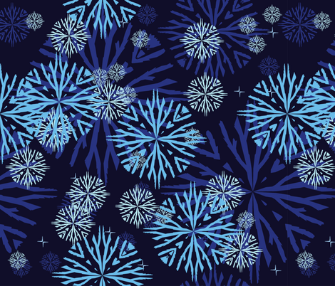 snowflakes blue fabric by kukileaf on Spoonflower - custom fabric