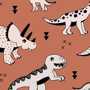 Cool Scandinavian kids dino friends dinosaur pattern rusty autumn copper brown LARGE Jumbo