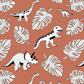 Cool Scandinavian kids dino friends dinosaur pattern rusty autumn leaves copper brown LARGE