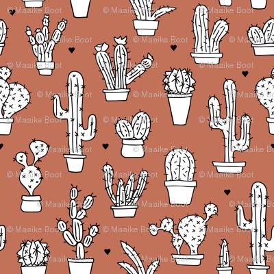 Cactus cacti garden botanical succulent green garden pattern fall illustration print copper brown Small