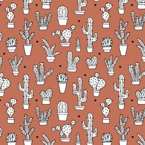 Cactus cacti garden botanical succulent green garden pattern fall illustration print copper brown Small