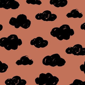 Back and copper brown autumn clouds black and white night abstract geometric gender neutrals prints for kids