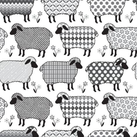 Baa Baa Black Sheep fabric by laura_mooney on Spoonflower - custom fabric