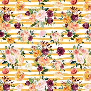 "Paprika Bouquets on Mustard Stripes 6"""