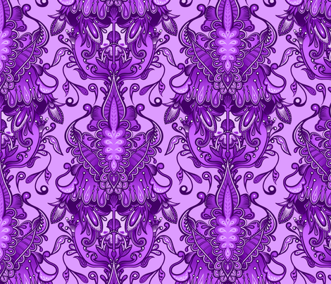 Monochrome Violet Damask fabric by jadegordon on Spoonflower - custom fabric