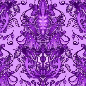 Monochrome Violet Damask