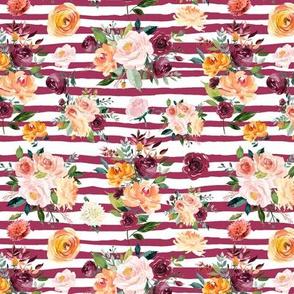 """Paprika Bouquets on Mauve Stripes 6"""""""