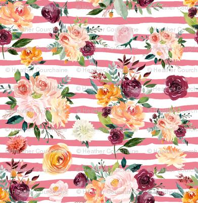 "Paprika Bouquets on Pink Stripes 6"""