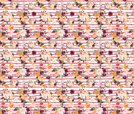 """Paprika Bouquets on Pink Stripes 6"""" fabric by greenmountainfabric on Spoonflower - custom fabric"""