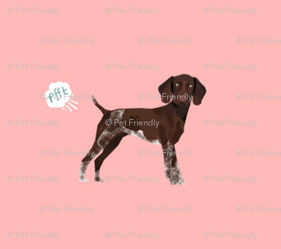 german shorthair pointer funny fart dog breed fabric pink
