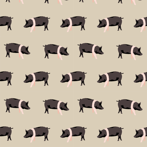 hampshire pig simple farm animal pigs fabric tan fabric by petfriendly on Spoonflower - custom fabric