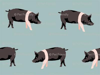 hampshire pig simple farm animal pigs fabric med blue