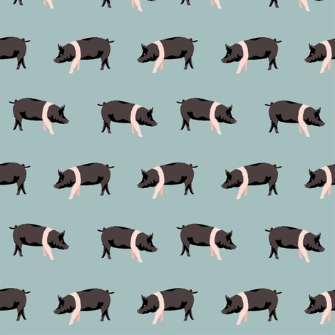 hampshire pig simple farm animal pigs fabric med blue fabric by petfriendly on Spoonflower - custom fabric