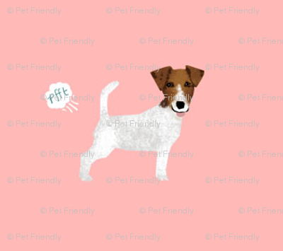 jack russell terrier funny fart dog breed fabric pink