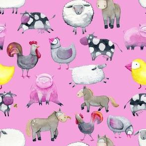 "Farm Animals  2 on Light Pink 8"""