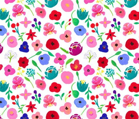 """Roxy Acrylic Painted Floral 12"""" fabric by greenmountainfabric on Spoonflower - custom fabric"""